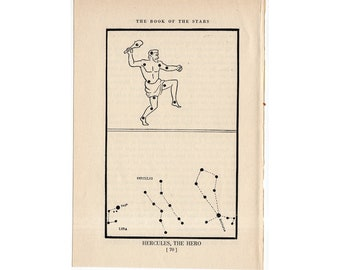 c. 1944 Hercules - CONSTELLATION FIGURE PRINT - original vintage astronomy print - star map - celestial lithograph - the Hero