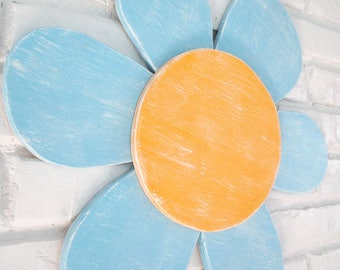 Blue and Yellow Daisy Wood Flower Sign Outdoor Patio Wall Hanging #5600