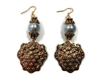 Blue Pearl Earrings - Blue And Gold Earrings - Gold Dangle Earrings - Pearl Dangle Earrings - Vintage Pearl Earrings - Vintage Gold Earrings