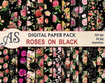 Digital Roses on Black Seamless Paper Pack, 24 printable Scrapbooking papers, Floral Digital Collage, vintage rose, Instant Download, set 50