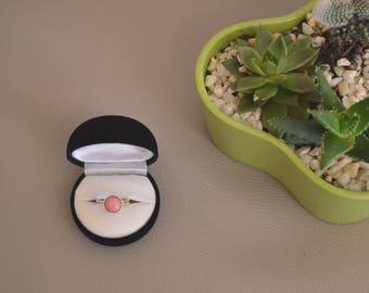Silver 925 and semi precious stone, rhodonite cabochon ring