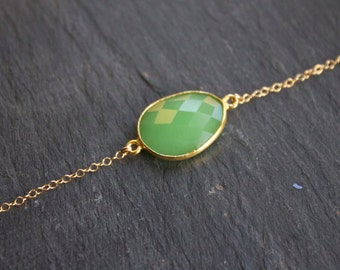 Faceted Chrysoprase 14k Gold Fill Choker Necklace