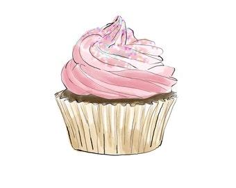 cupcake print, digital download kitchen art, pink cupcake art, JPEG of watercolor/ink drawing