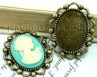 3 pcs Antique Brass Victorian Style Cameo Cabochon Frame, Setting, Pendant, Pin -FRM-3310AB