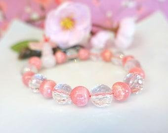Medium pink agate clear crystal quartz rose quartz stretch bracelet, Buddhist prayer bead pink and clear bracelet