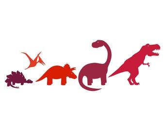 Dinosaur Family Car Decal - tyrannosaurus, velociraptor, brontosaurus, triceratops, stegosaurus and pterodactyl options