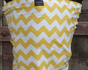 ORGANIC BABY WRAP-Yellow Chevron on Black-DvD Included-Newborn to Toddler-One Size Fits All