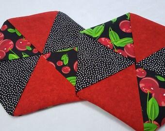 Hexagon Pinwheel Potholders (Set of 2)  -  Cherries with Red and Black