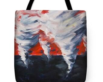 Tote bag Tornado grocery bag Painting tote bag Shoulder shopping bag Fantasy shopping bag Apocalyptic Dream tote bag