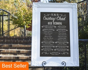 Wedding Program Template, Wedding Program Sign, Wedding Program, Wedding Party Sign, Chalkboard Wedding Program, Wedding Chalkboard Sign