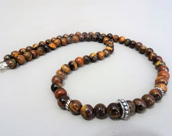 Mens beaded necklace - Tigereye & sterling beads - 925 sterling silver - Gift for men -Boho hippie - mens jewelry - gemstone mens necklace