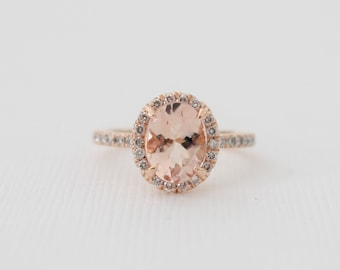 Oval Morganite Diamond Halo Engagement Ring in 14K Rose Gold