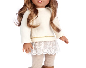 Romantic Melody - Doll Clothes for 18 inch American Girl Doll - 3 Piece Doll Outfit - Tunic, Leggings and Boots