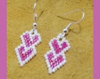 Stacked Hand Beaded Heart Earrings