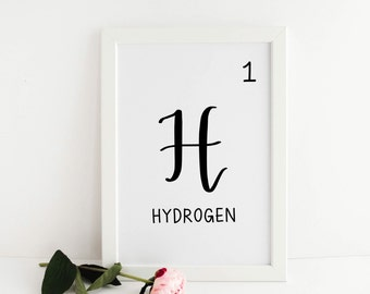 "Periodic Table Numbers 1-16 (Hydrogen to Sulfur) - 5""x7"" Digital File Printables, Instant Download - Chemistry, Elements, Science"
