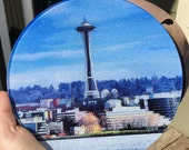 Seattle Space Needle Round Glass Cutting board, Cheese Board or Trivet - 8 in diameter (small)