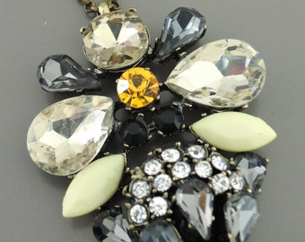Statement Necklace - Black Yellow Gray Crystal Necklace - Boho Layering Necklace - Festival Necklace - OOAK - handmade jewelry