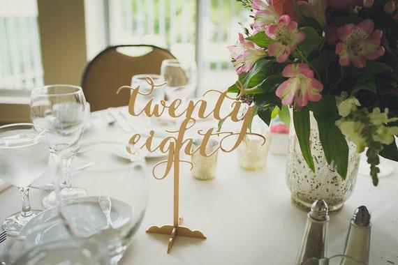 Wedding Table Numbers, DIY Table Numbers, Wooden Table Numbers, Gold Table Numbers, Laser Cut Wedding Decor, Rustic Wedding Table Numbers