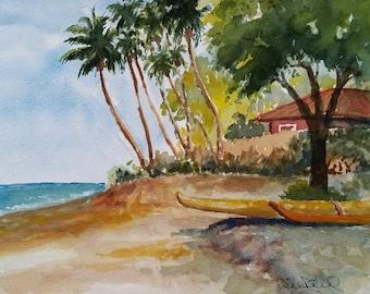 Hanakaoo Beach -  giclee art print of my original watercolor painting