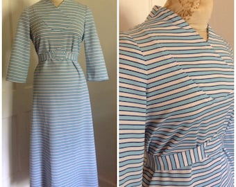 1970s Vintage Blue Striped Maxi Dress // 12 14 large XL modest graphic op art seventies