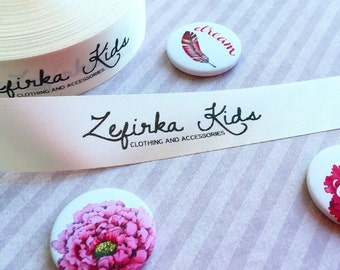 Fabric satin labels - Beige Satin - Fabric Ribbon - Handmade Label Tape Ribbon - Custom fabric ribbon - Custom satin labels - Printed labels