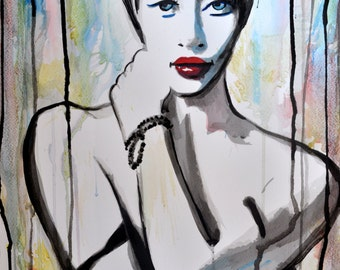 Watercolor geisha painting, Japanese girl undressing, FINE ART PRINT, Asian girls, Geisha art, home decor, asian painting, Alex Solodov