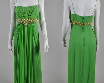 1960's Jackie O' style vintage Chiffon dress with stunning beaded detail A1