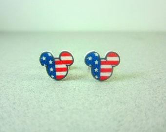Mickey Mouse 4th of July Earrings, Mickey Mouse Jewelry, Mickey Earrings, Disney Jewelry, Disney Earrings, America Earrings, Mickey Bracelet