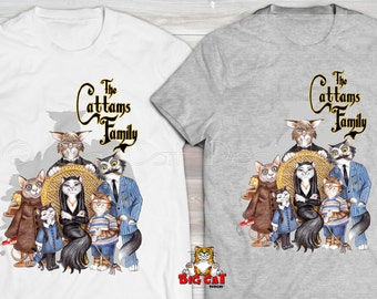 CATTAMS FAMILY T-shirt  Cats playing Addams Family cat tshirt.  Cat Lover tshirt. Cat Lover Gift.