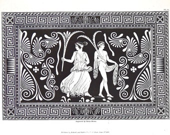 """Antique Engraving Wall Art Old Engraving Gallery Wall Black White Wall Decor 10 7/8"""" x 7 1/4"""" Greece Etruscan 1848 Antiques FREE SHIPPING"""