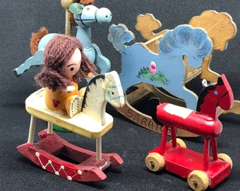 Vintage Hand Made - Hand Painted Toy Horse Collection Set of Four from the 70's/80's