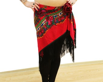 Red or White long-fringed HIP SHAWL - Tribal Fusion Bellydance Fringe hip shawl, ATS hip scarf, fringe shawl
