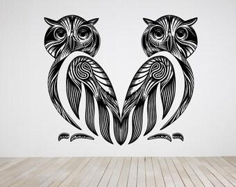 Wall Art Vinyl Sticker Tribal Couple Owl Owls Pair Set Bird Robin Crow Raven Nest Branch Tree House Parrot Wild Life Forest ZX480