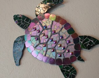 Sea turtle Mosaic with glass bead eyes beads gift wall hanging plaque art stain glass bathroom art tortoise