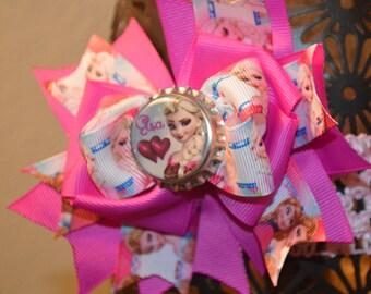 Disney Frozen Elsa Hair Bow. Dark Pink, Light Pink, Light Blue, Purple