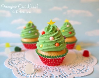 Fake Cupcake Realistic Christmas Holiday Green Tree Frosting Faux Ornament Candy Stripe