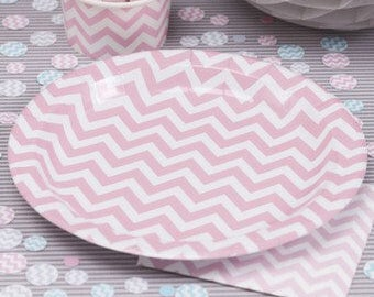 Pink Chevron Paper Plates ... & Chevron paper plates | Etsy