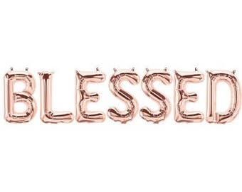 Sale BLESSED BALLOONS Balloon Banner Garland Rose Gold Gold Silver Thanksgiving Friendsgiving Give Thanks Decorations Fall Harvest #Blessed