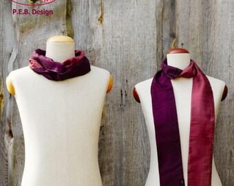 Silk scarf or silk loop, scarf, tube scarf, loop, silk, silk, raw, eggplant rose, lilac-pink, two-tone