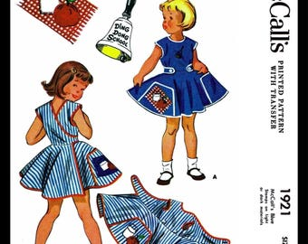 Mccalls 1921 Wrap Apron Dress Fabric Sewing Pattern Ding Dong School 1950s Kids Child Girls Self Help Teaching Reproduction Size 2
