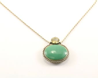Vintage Large Oval Green Turquoise Necklace 925 Sterling Silver NC 888