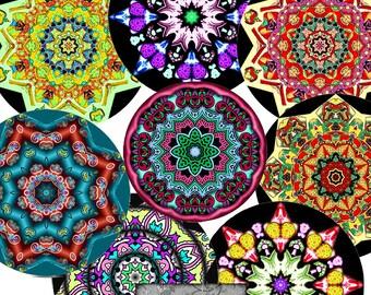 NUEVOS círculos de Digital de 1,5 pulgadas, dos hojas, Mandalas, caleidoscopios, hojas Collage Digital, Arte Digital, para imprimir descargar, CS 358