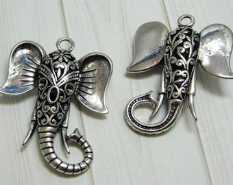 Elephant pendant etsy elephant pendant boho pendants elephant head elephant face silver pendants large aloadofball Image collections