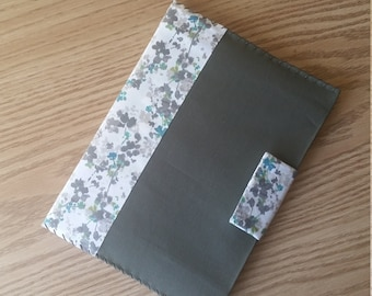 Reusable Notebook Cover - Cream Floral with Olive Green