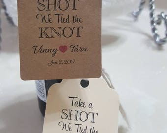 "Personalized Favor Tags 2.5Lx1.8W"", Wedding tags, take a shot we tied the knot, tags, Favor tags, Gift tags, Bridal Shower Favor Tags,"