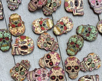 "Skull Buttons - Sugar Skull - 10 or 50 Buttons Assorted Patterns - 1"" Tall - Day of the Dead, Scrapbooking, Crafts, Sewing Buttons (B135)"