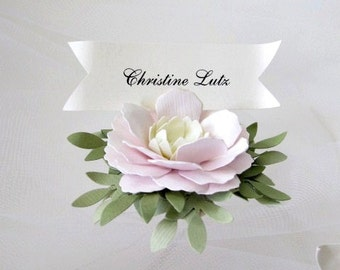 Wedding Place Cards Handmade Paper Flowers
