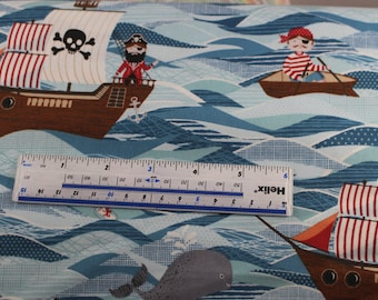 Pirate ships by Makower Patchwork Quiltiing 100% cotton