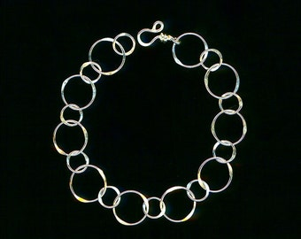 Open Circle Chain Wire Bracelet Sterling Silver Link Wirework Jewelry