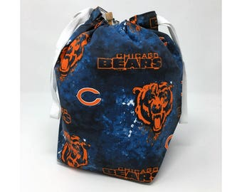 SALE - Chicago Bears Drawstring Knitting Project Bag
